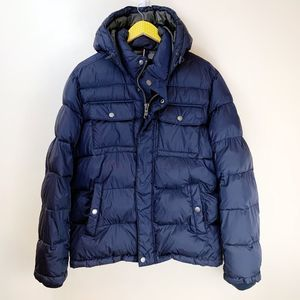 Tommy Hilfiger Navy Puffer Winter Coat Jacket
